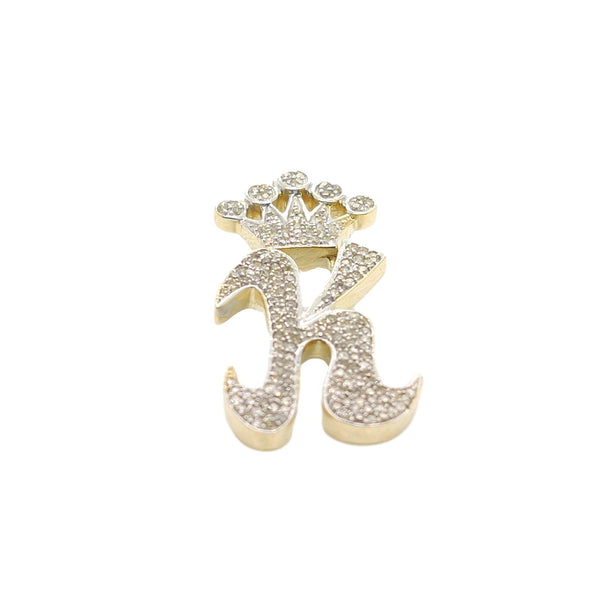10K Yellow Gold Diamond K Letter Charm with Crown Small Size