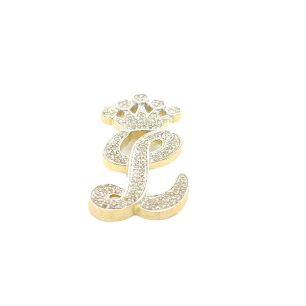 10K Yellow Gold Diamond L Letter Charm with Crown Small Size