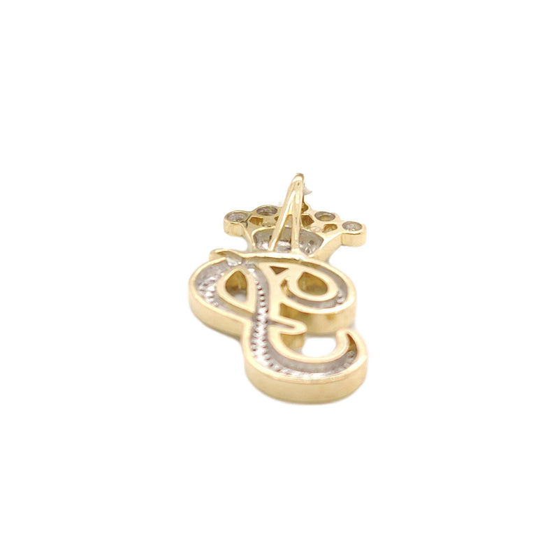 10K Yellow Gold Diamond P Letter Charm with Crown Small Size
