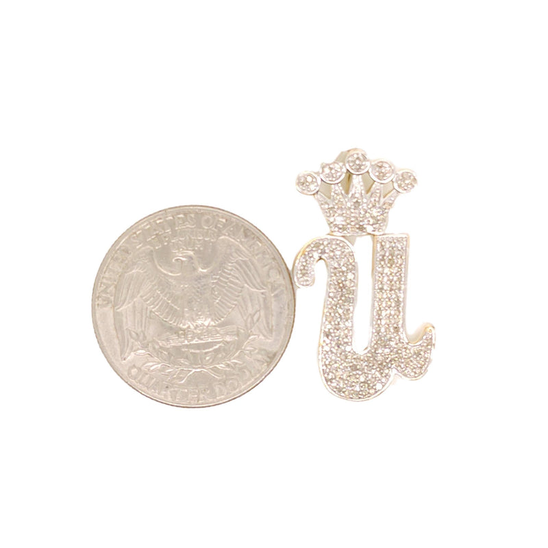10K Yellow Gold Diamond U Letter Charm with Crown Small Size