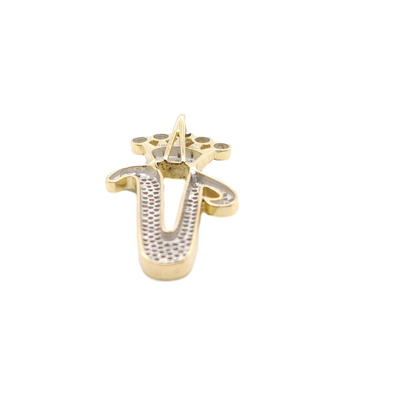 10K Yellow Gold Diamond V Letter Charm with Crown Small Size