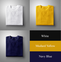 Load image into Gallery viewer, Navy : White : Yellow Pack Of 3 Solid T-shirts