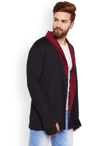 HYPERNATION Black and Maroon Color Cotton Shrug For Men