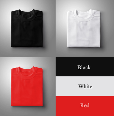 Black : White : Red Pack Of 3 Solid T-shirts