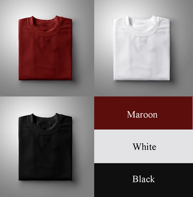 Black : Maroon : White Pack Of 3 Solid T-shirts