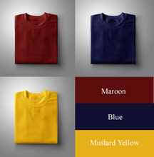 Load image into Gallery viewer, Maroon : Yellow : Navy Pack Of 3 Solid T-shirts
