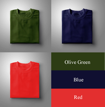 Load image into Gallery viewer, NAVY : RED : OLIVE GREEN  Pack Of 3 Solid T-shirts