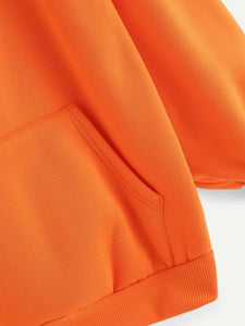 Neon Orange Full Sleeve Unisex Hoodie with Kangaroo Pocket