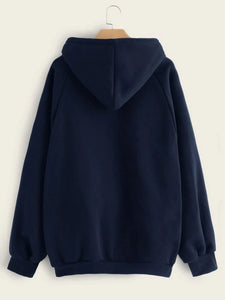 Navy Blue Full Sleeve Unisex Hoodie with Kangaroo Pocket