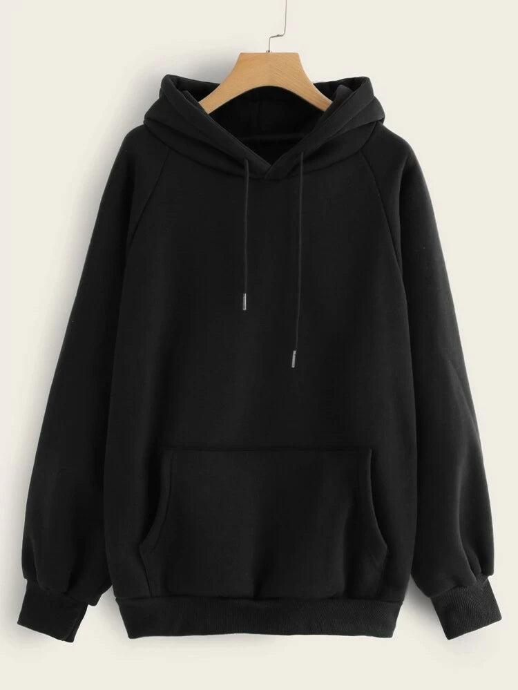 Black Full Sleeve Unisex Hoodie with Kangaroo Pocket
