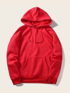 Red Full Sleeve Unisex Hoodie with Kangaroo Pocket