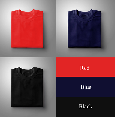 Black : Navy Blue : Red Pack Of 3 Solid T-shirts