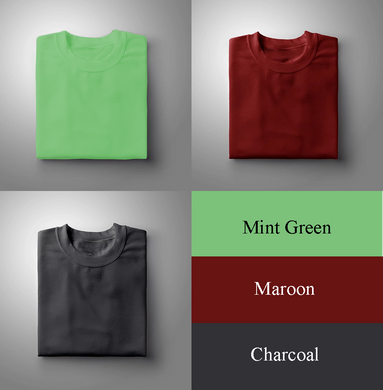 Mint Green : Maroon : Charcoal Pack Of 3 Solid T-shirts
