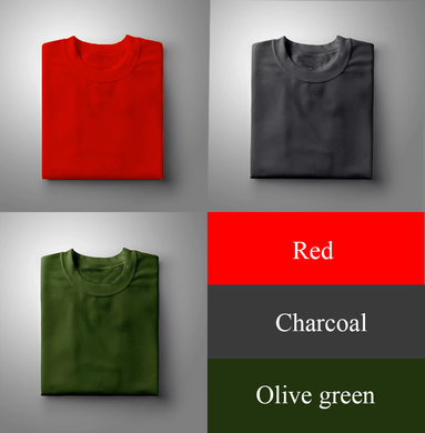 RED : OLIVE GREEN : CHARCOAL Pack Of 3 Solid T-shirts
