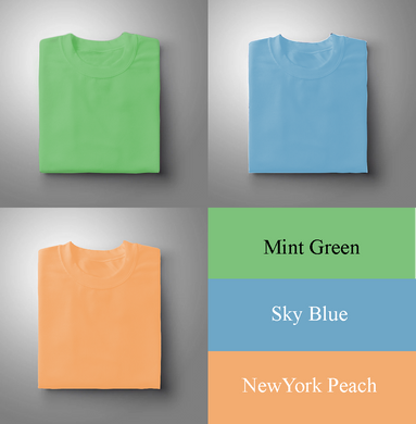 Mint Green : Sky Blue : New York Peach Of 3 Solid T-shirts