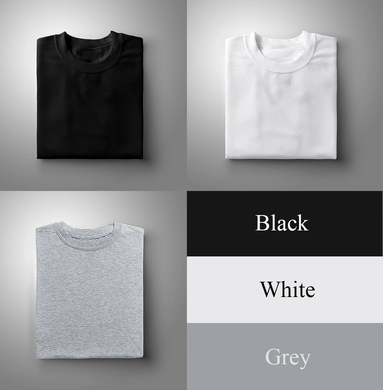 Black : White : Grey Pack Of 3 Solid T-shirts