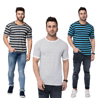Pack of 3:Half Sleeve Striped T-Shirt