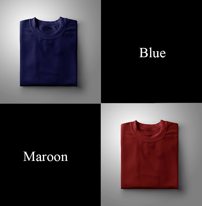 Navy Blue : Maroon - Pack Of 2 Full Sleeves T-shirts Combo