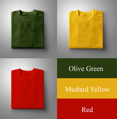 Red : Yellow : Olive Green Pack Of 3 Solid T-shirts