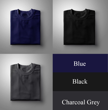 Load image into Gallery viewer, Black : Charcoal : Navy Blue Pack Of 3 Solid T-shirts