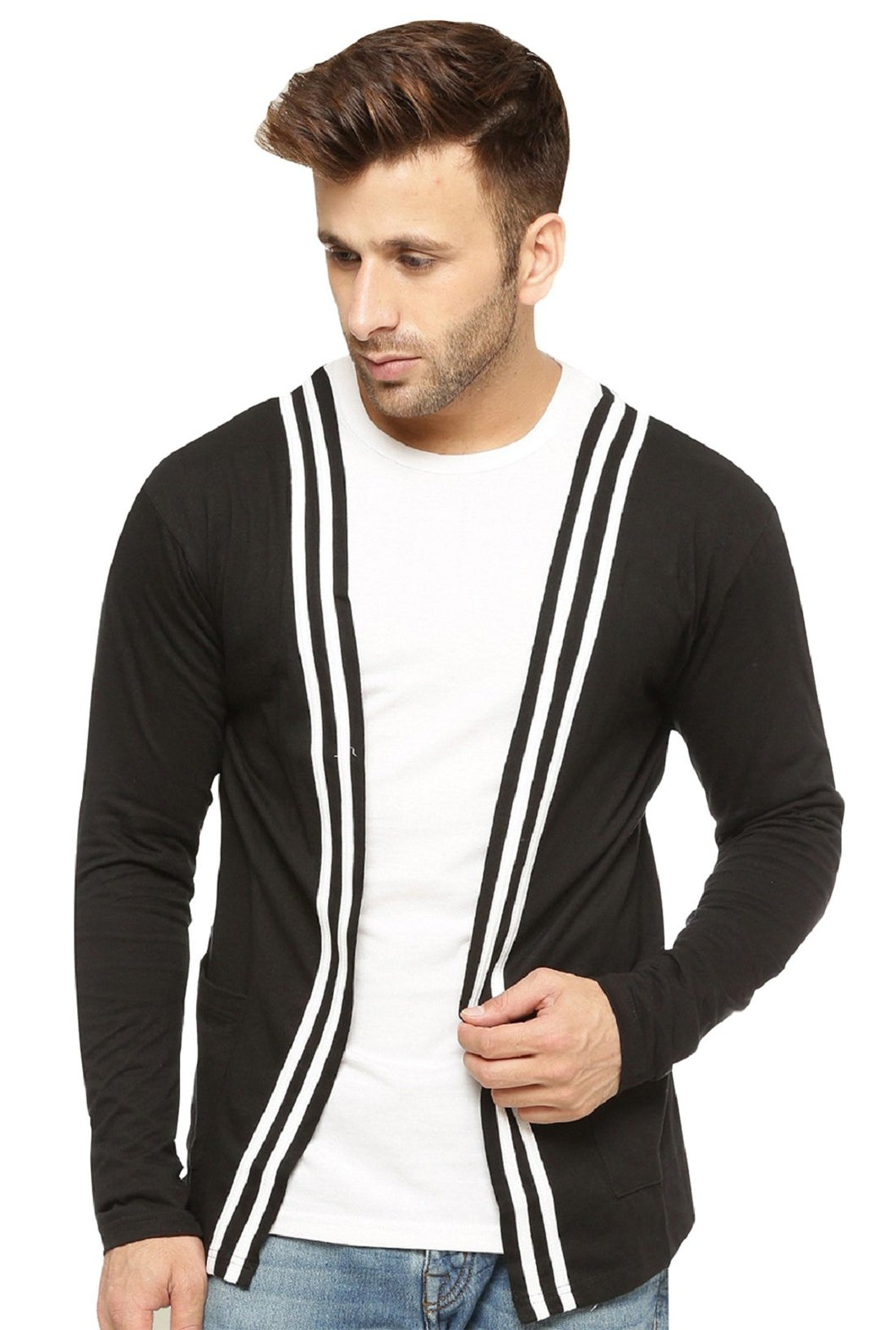 Black Open Long Cardigan Full Sleeve Shrug for Men