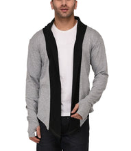 Load image into Gallery viewer, Grey Thumbhole Open Long Cardigan Full Sleeve Shrug for Men