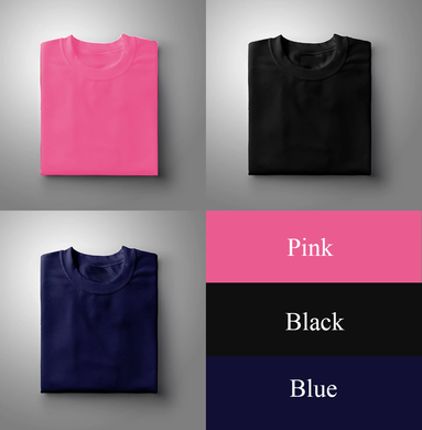 Black : Pink : Navy Blue Pack Of 3 Solid T-shirts