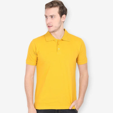 Mustard Yellow - Polo Neck Half Sleeve T-shirt