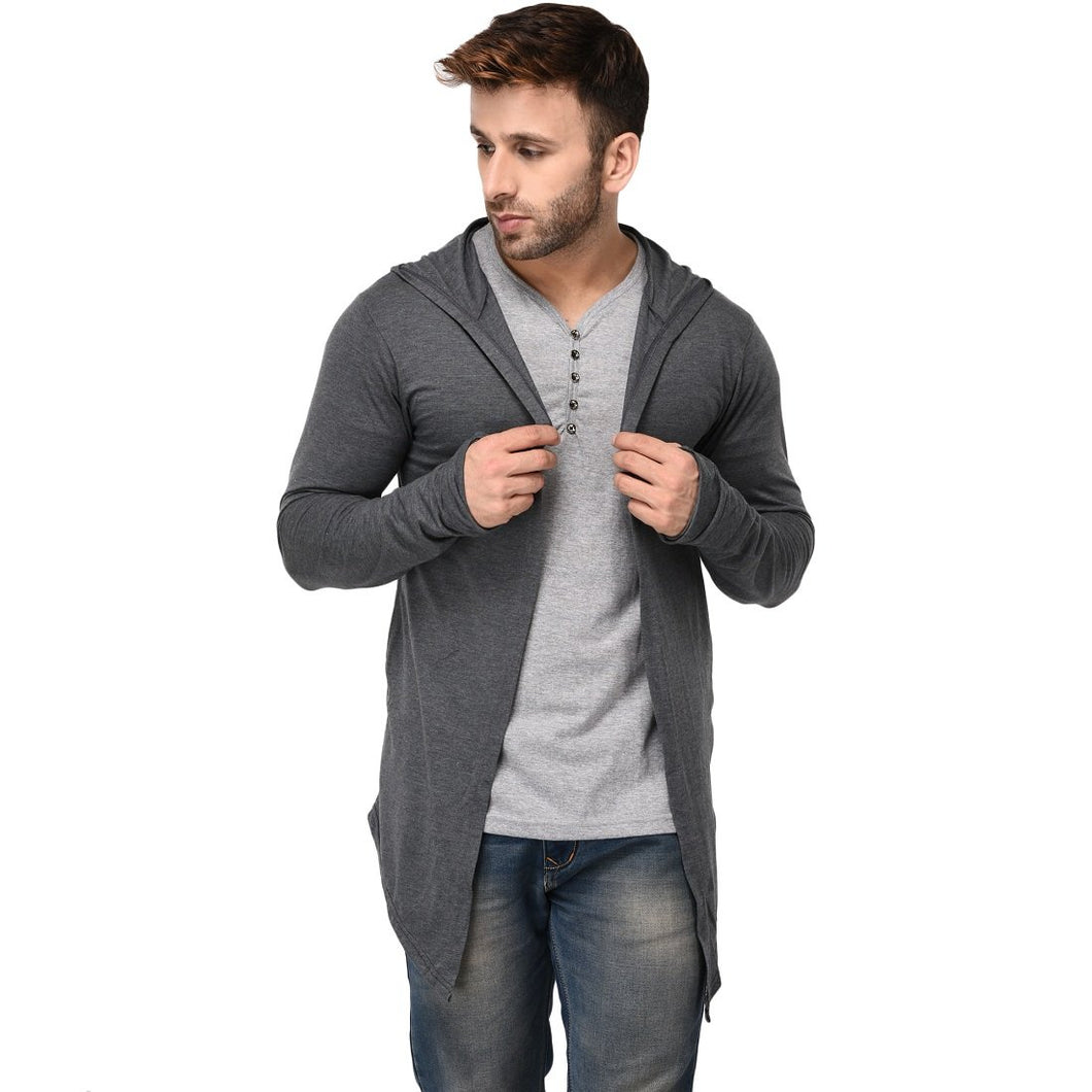 Hooded Charcoal Open Long Cardigan Full Sleeve Shrug for Men