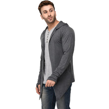 Load image into Gallery viewer, Hooded Charcoal Open Long Cardigan Full Sleeve Shrug for Men