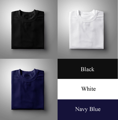 Black : Navy Blue : White Pack Of 3 Solid T-shirts