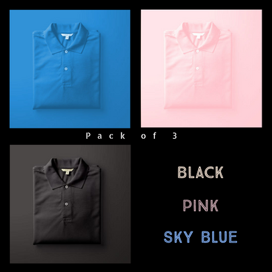 Black : Sky Blue : Pink - Polo T-shirt Combo