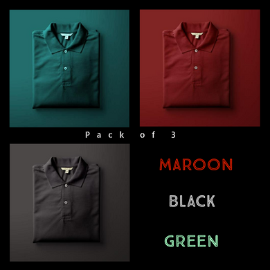 Black : Maroon : Olive Green - Polo T-shirt Combo