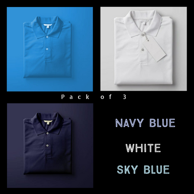 Sky Blue : Navy Blue : White - Polo T-shirt Combo