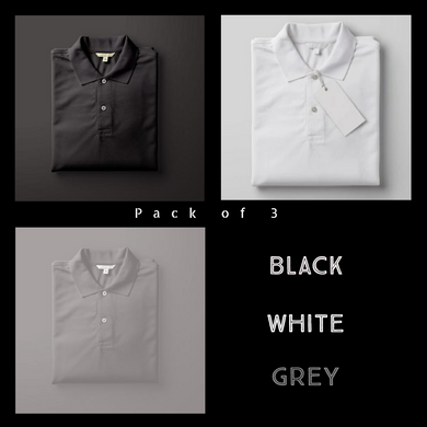 Grey : White : Black-Polo T-shirt Combo