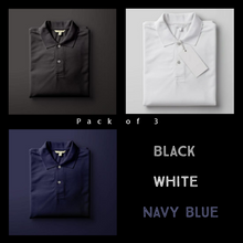 Load image into Gallery viewer, Black : White : Navy Blue-Polo T-shirt Combo