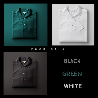 Black : White : Olive Green - Polo T-shirt Combo