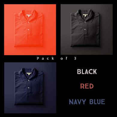 Black : Red : Navy Blue - Polo T-shirt Combo