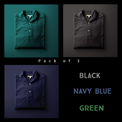 Black : Olive Green : Navy Blue - Polo T-shirt Combo
