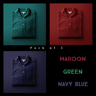 Navy Blue : Maroon : Olive Green-Polo T-shirt Combo