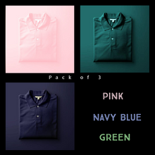 Load image into Gallery viewer, Olive Green : Pink : Navy Blue - Polo T-shirt Combo