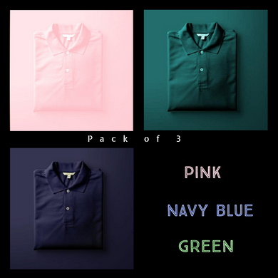 Olive Green : Pink : Navy Blue - Polo T-shirt Combo