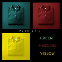 Load image into Gallery viewer, Green : Maroon : Yellow  - Polo T-shirt Combo
