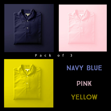 Navy Blue : Pink : Yellow  - Polo T-shirt Combo