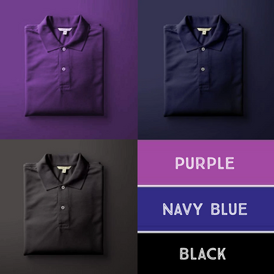Black : Purple : Navy Blue-Polo T-shirt Combo
