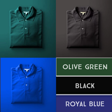 Black : Royal Blue : Olive Green - Polo T-shirt Combo