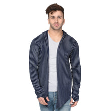 Load image into Gallery viewer, Navy Blue Hooded Men's Full Sleeve Printed Stripes Cotton Shrug Cardigan