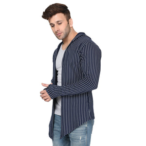 Navy Blue Hooded Men's Full Sleeve Printed Stripes Cotton Shrug Cardigan