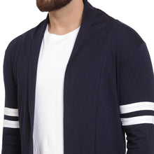 Load image into Gallery viewer, Navy Blue Open Long Cardigan Full Sleeve Shrug With White Strips for Men