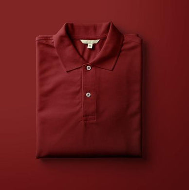 Maroon - Polo Neck Half Sleeve T-shirt